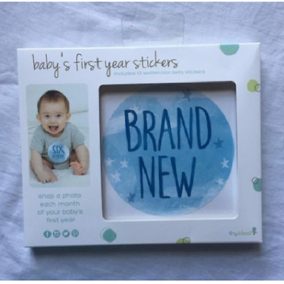 Baby's First Year Belly Stickers Boys Gift, Shower, Blue, Month (D3)