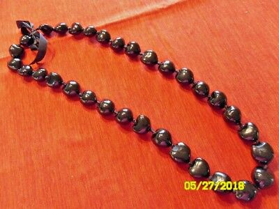"Hawaiian Black 32"" Kukui Nuts Lei Chunky Bead Necklace Luau Hula Hawaii New"