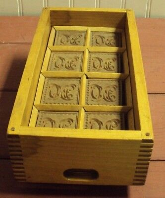 Antique Monogrammed Butter Mold In Dovetailed Wood Case