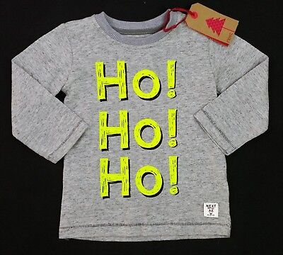 Baby Boys Clothes NEXT XMAS Christmas HO HO HO LSleeved Top Tee 9-12 Months BNWT