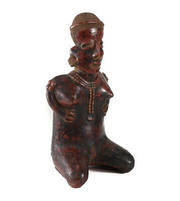 Pre-Columbian NAYARIT Kneeling Female Figure, Burnished black on red slip