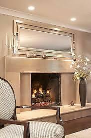 """Contemporary Large Silver Gold Wall Floor Mirror XL 76"""" Dressing Horchow Chic"""