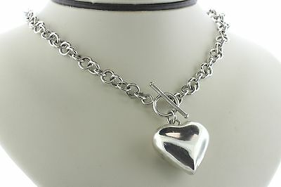 """Puffy Heart Sterling Silver 925 Round Link Toggle Necklace - 16"""""""