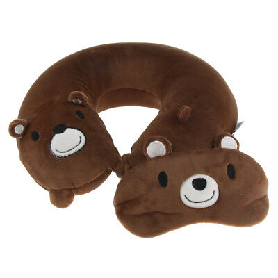 Memory Foam U-Shaped Travel Pillow Neck Head Rest Airplane Cushion Brown