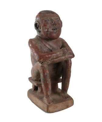 Pre-Columbian Pottery, NARINO Seated Male Coca Chewer, Colombia, Capuli culture
