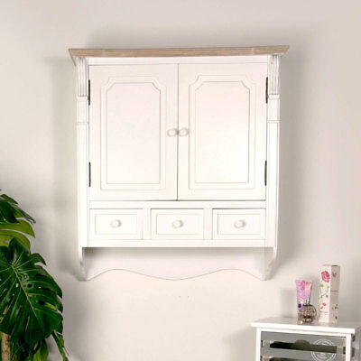 Wall mounted white painted wooden bathroom cupboard drawer storage cabinet unit