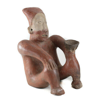 Pre-Columbian JALISCO Mexico Pottery Large Seated Figure, Ameca  style