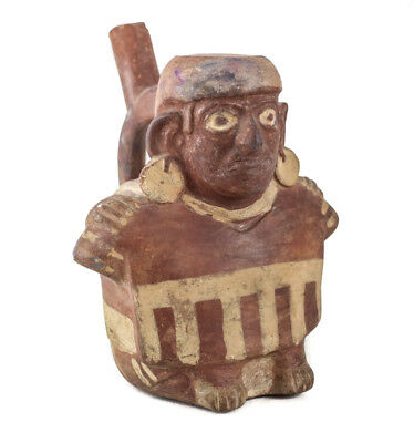 Pre Columbian Moche Peru Pottery, Figural Vessel with Stirrup Spout. Seated man