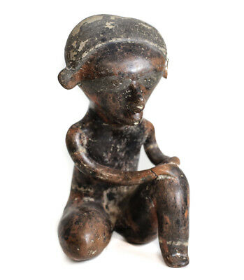Pre-Columbian NAYARIT Mexico Pottery Seated Figure, Chinesco Style