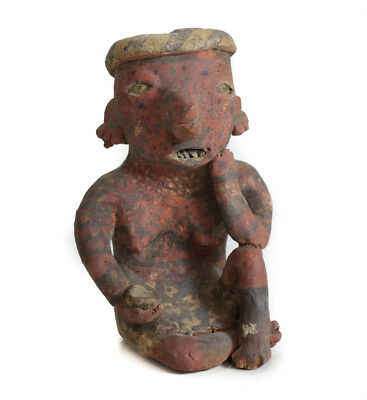 Pre-Columbian NAYARIT Mexico Pottery Small Seated Female Figure with Bowl