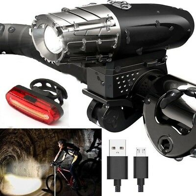 Bright LED Bicycle Bike Front Headlight USB Rechargeable & Rear Tail Light Set