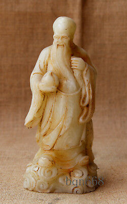 "7"" China old handcarved white jade God of longevity statue"