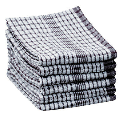 10 Pack BLACK Wonderdry Catering Cloths Checked Kitchen T-Towels