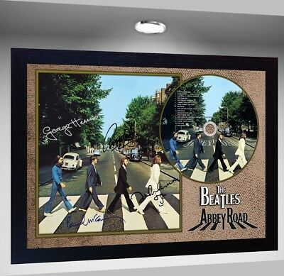 The Beatles Abbey Road SIGNED FRAMED PHOTO CD Disc Perfect gift