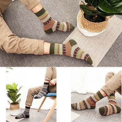 5 Pairs Men Retro Wool Cashmere Design Warm Soft Thick Casual Dress Winter Socks