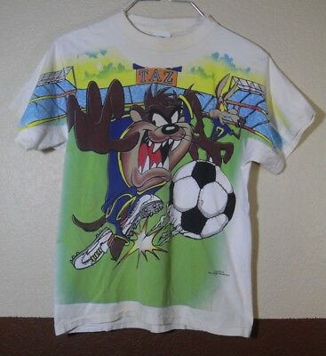 VTG All over print Looney Tunes Tazmanian Devil Soccer Youth T-Shirt Large