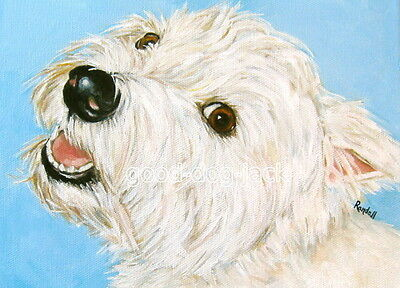West Highland Terrier ACEO WESTIE PRINT Painting MOLLY'S SMILE Dog Art RANDALL