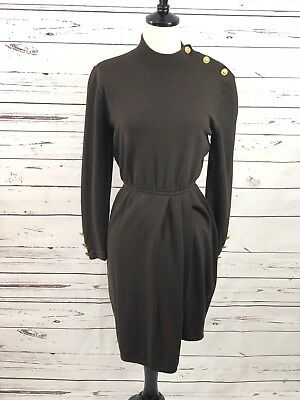 ST. JOHN Collection By Marie Gray Brown Longsleeved Dress Size 4