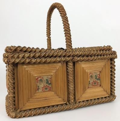 Antique 19thC Victorian American Folk Art Wicker Woven Straw Sewing Basket Box