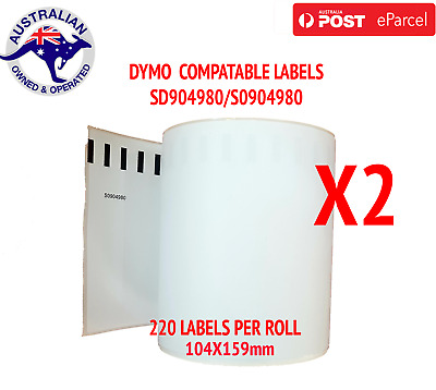 2X Compatible Dymo 4XL Extra Large Shipping Labels SD0904980 220 roll 104x159mm