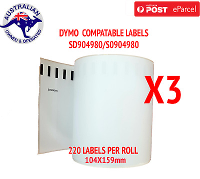 3X Compatible Dymo 4XL Extra Large Shipping Labels SD0904980 220 roll 104x159mm