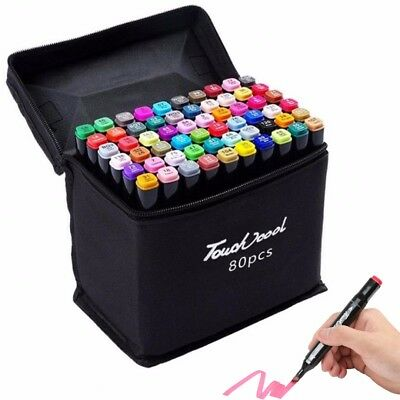 24/48/60/80 Colour Set Touch Markers Twin Tip Art Set Sketch Broad Fine Tool