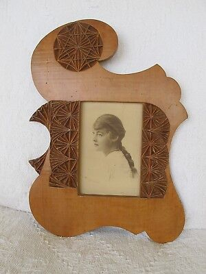 HUON PINE CHIP-CARVED PHOTO FRAME  c.1920's