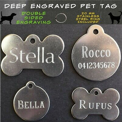 Traditional Deep Engraved Stainless Steel Dog Cat Pet ID Tag Tumble Finish