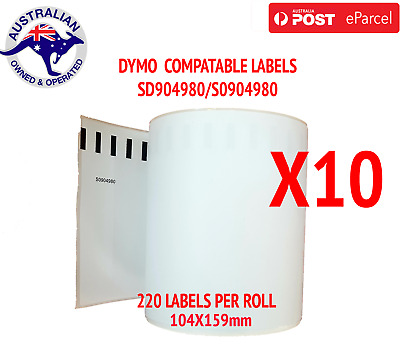 10x Compatible Dymo 4XL Extra Large Shipping Labels SD0904980 220 roll 104x159mm
