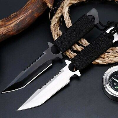 "8"" Fixed Blade Straight Tactical Military Pocket Hunting Knife Blade Open"