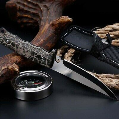 "8"" Fixed Blade Straight Tactical Military Pocket Hunting Knife With Cover"
