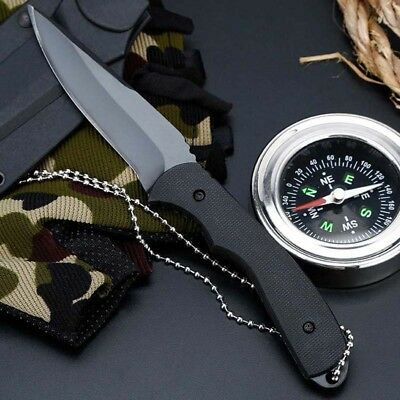 "6.5"" Fixed Blade Straight Tactical Military Pocket Hunting Knife With Cover"