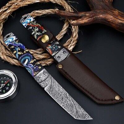 "9"" Fixed Blade Straight Tactical Military Pocket Hunting Knife With Sheath"