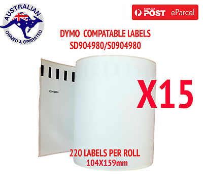 15x Compatible Dymo 4XL Extra Large Shipping Labels SD0904980 220 roll 104x159mm