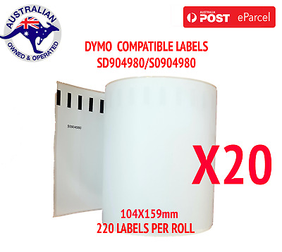 20x Compatible Dymo 4XL Extra Large Shipping Labels SD0904980 220 roll 104x159mm