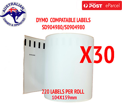 30x Compatible Dymo 4XL Extra Large Shipping Labels SD0904980 220 roll 104x159mm