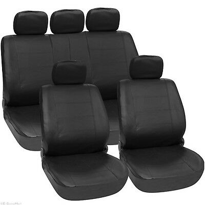 UNIVERSAL 11 PIECES Fully LEATHER LOOK CAR SEAT COVERS SET AIR BAG COMPATIBLE
