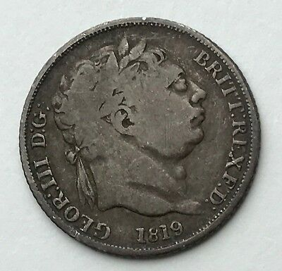 Dated : 1819 - Silver Coin - Sixpence - 6d - King George III - Great Britain