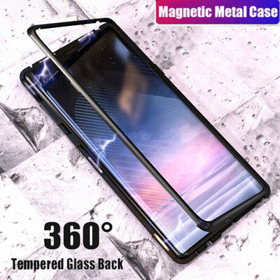 Magnetic Absorption Metal Bumper Glass Case Cover For Samsung Galaxy NOTE 9 8