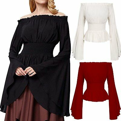 Womens Medieval Gothic Chemise Bell Sleeve Off Shoulder Shirt Renaissance Tops