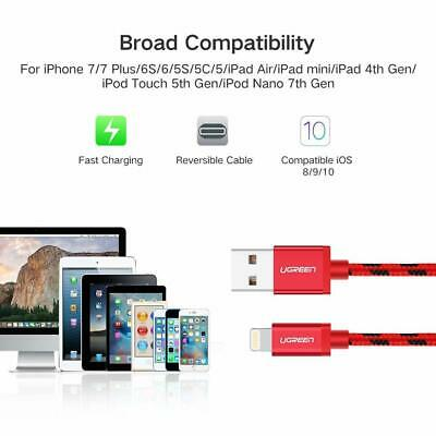 Ugreen Braided Lightning Data USB Charging Cable 2M RED Apple iPhone X 6s 7 8 5