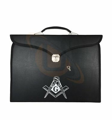 Masonic master mason MM/WM Apron & Chain Collar case with G compass