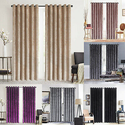 Crushed Velvet Curtains PAIR of Eyelet Ring Top Fully Lined Ready Made Fast/Free