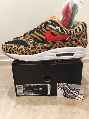 huge selection of 3bba9 fb7f7 NEW NIKE ATMOS x Air Max 1 DLX Animal Pack AQ0928-700 2018 95 Mens Size 8