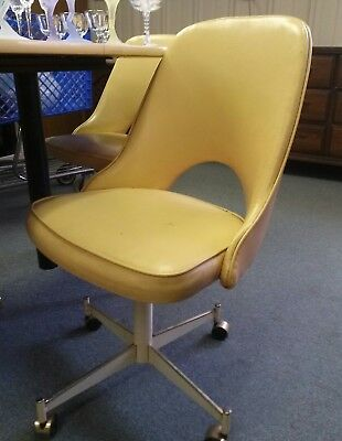 Vtg Set of 4 Four Mid Century Modern Dinette Chairs Yellow Vinyl by STONEVILLE
