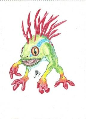 Murloc World of Warcraft Original Portrait coloured crayon