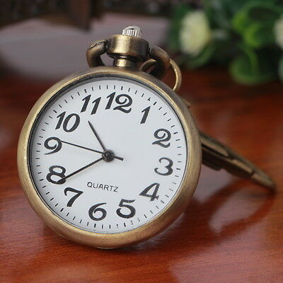 Retro Bronze Quartz Movement Keychain Keyring Watch Pocket Watch Round Dial QA