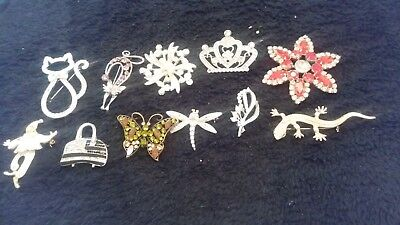 Large Job Lot Of Used Broken Costume Brooches