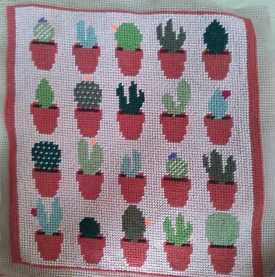 Modern Tapestry: Unique Handmade 'Cacti (Beige background)' Sampler