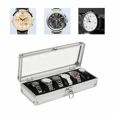 6 Grid Slots Jewelry Watches Display Storage Box Case Aluminium Watch Box QA